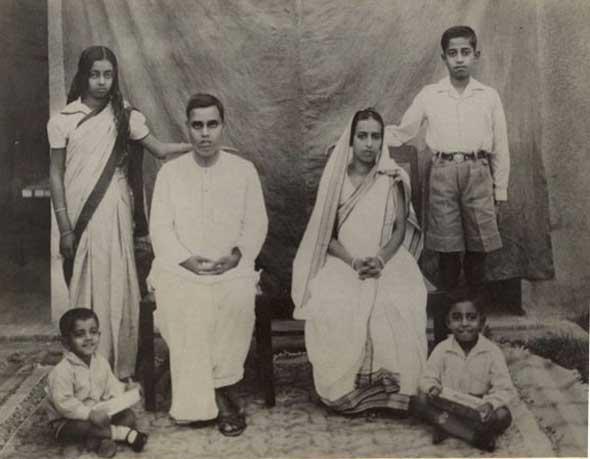 A serious family photograph