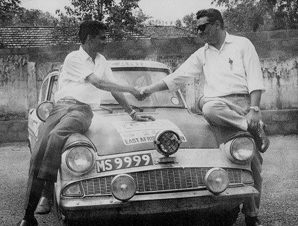 The Khambhaita Brothers after finishing the East African Safari Rally, 1965. Tanzania