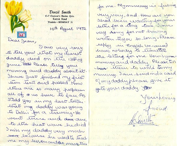 My Letter to Jean Christophes. Bombay. August 10, 1972.