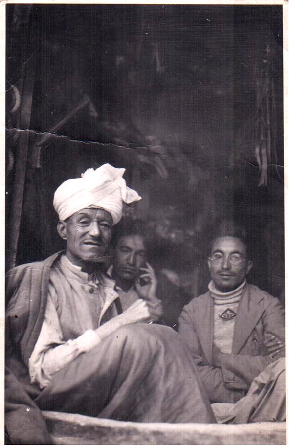 My great grandfather Munshi Aziz Bhat with his two sons, Munshi Habibullah and Munshi Abdul Rehman. Kargil, Ladakh. 1945.