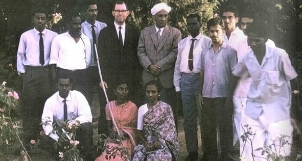 American College Batch of 1964 with Dr. Riesz and Sir. C.V Raman. Bangalore. Karnataka. 1965