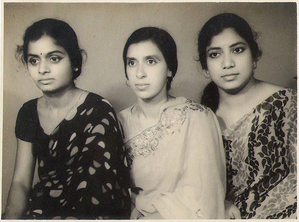 Mrs. Radha Krishna (my mother) with her friends, Mrs Puri and Mrs Roy. Gorakhpur. Uttar Pradesh. Circa 1965.