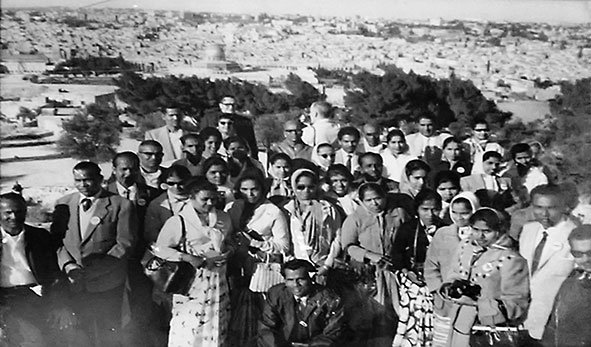 My grandmother, Kunjamma (standing fourth from right) with a travel group. Jerusalem. 1967