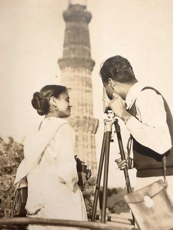 My husband Rabinder Nath Khanna and I at the Qutub Minar. Delhi. 1954