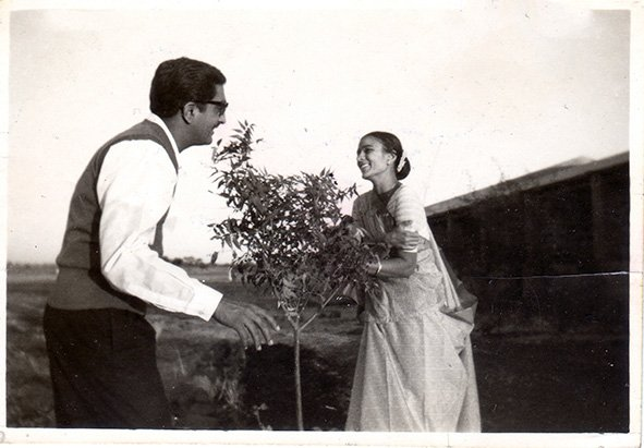 My parents, Umedrai and Hansa. Village Parivarnagar. 1963