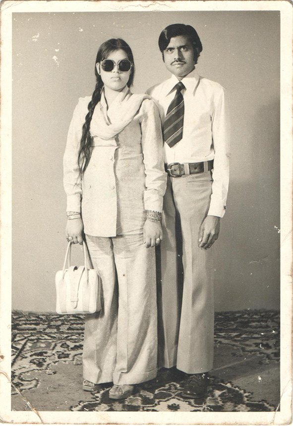 Fehmeed Siddiqui with wife Nargis Jahan. Karachi, Pakistan, 1975.
