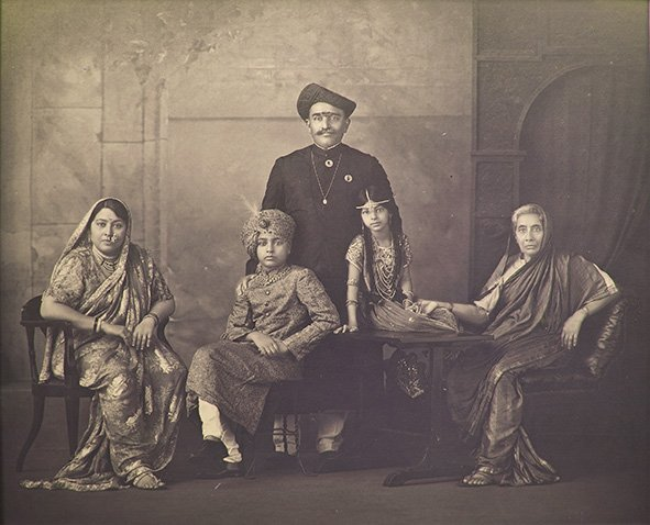My maternal grandparents, the Maharaja & Maharani of Devas, my mother, uncle and great grandmother. Bombay. Circa 1931