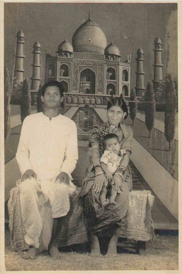 My grandparents Jagajiban & Kanaka Sahu with their youngest son, Shwetabahan. Bombay, Maharashtra. 1976