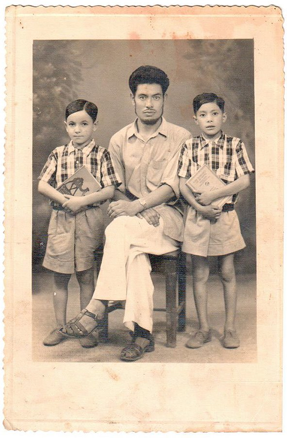 My grandfather Faizullah Baba with my uncles Abdullah and Majid. Darjeeling, India. Circa 1957
