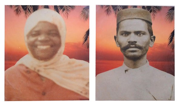 My wife's aunt & uncle. Circa 1930s. Kenya [Composited with an colour background at a later date]