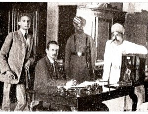 Our Great-grandfather Charles R. Hardless (seated left), his son Charles E. Hardless, with Nizam's palace staff. King Kothi Palace, Hyderabad. 1912