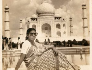 My mother Meenakshi Surve posing by the Taj Mahal. Agra, Uttar Pradesh. 1978